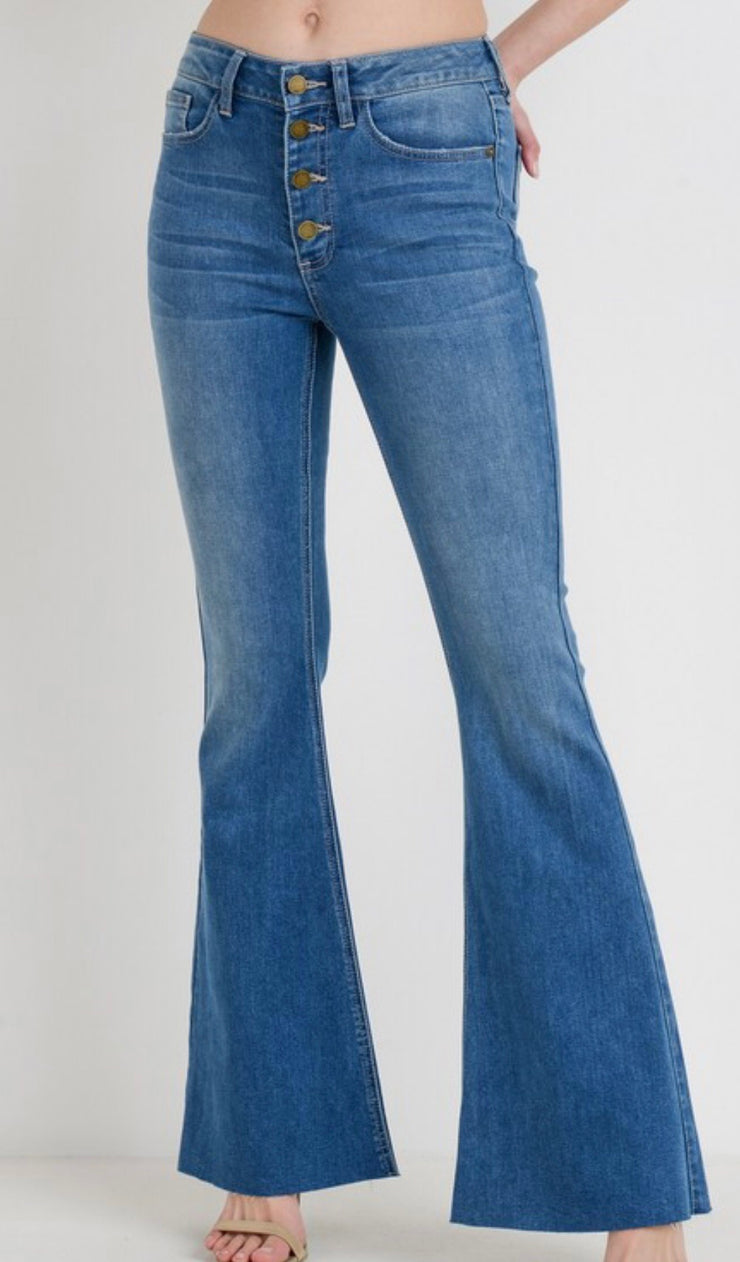 JBD High Rise Button Down Medium Denim Flare Jeans