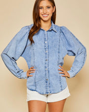 Denim Button Up Shirt w/Pleated Sleeves