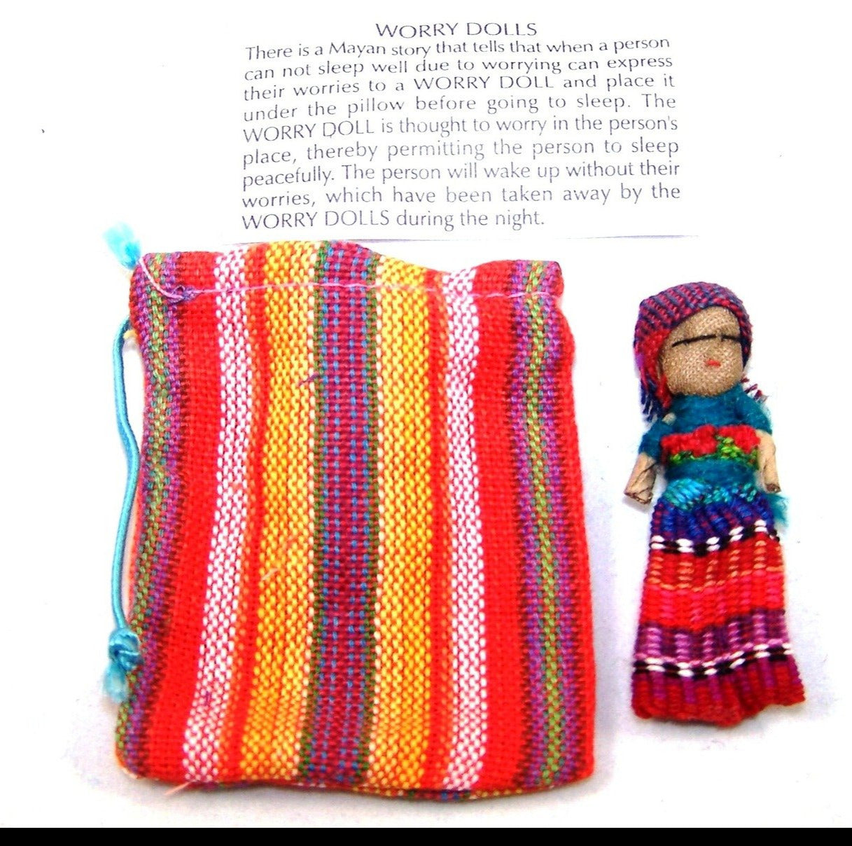 Guatemalan Worry Doll - single doll in fabric pouch