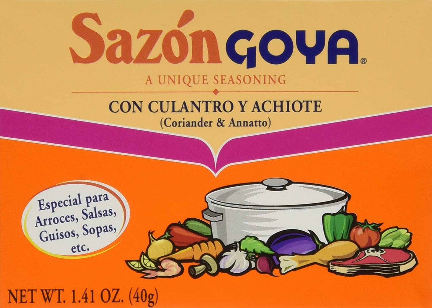 Sazon Goya Seasoning Culantro and Achiote 40gm (8 sachets)