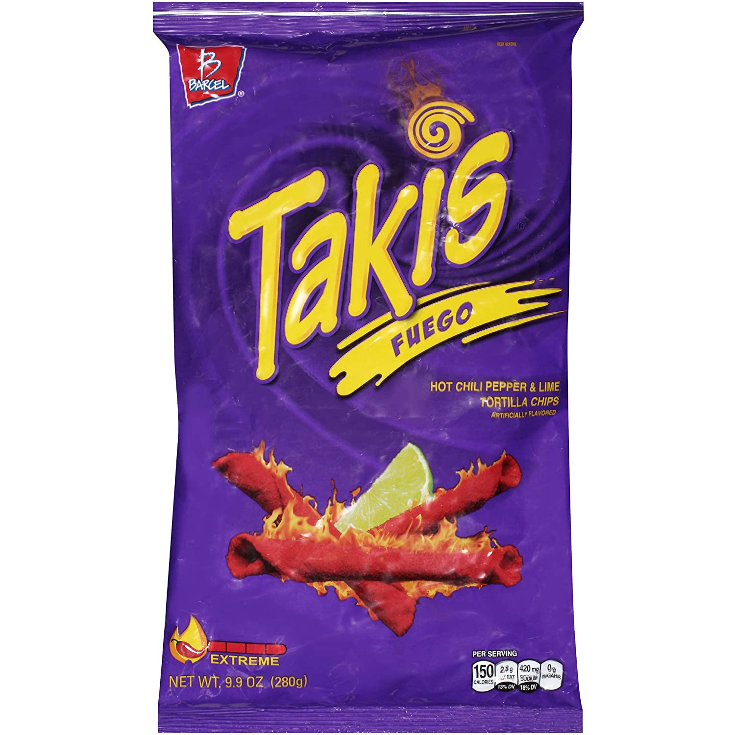 Takis Fuego Chili Pepper and Lime Tortilla Chips 9.9oz (113gm)