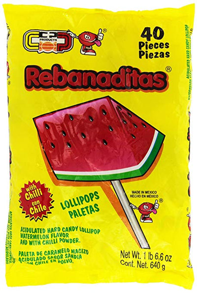 Rebanaditas Watermelon Chile Mexican lollipop
