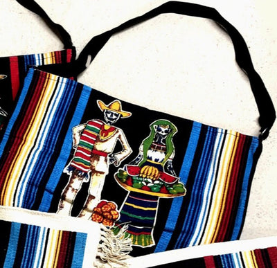 Canvas Shoulder Bag Day of the Dead - Serape Couple with fruit platter