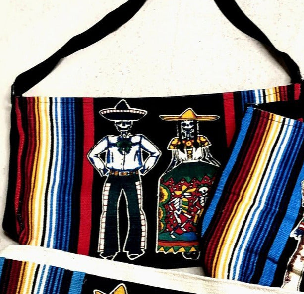 Canvas Shoulder Bag Day of the Dead - Serape Couple with vase