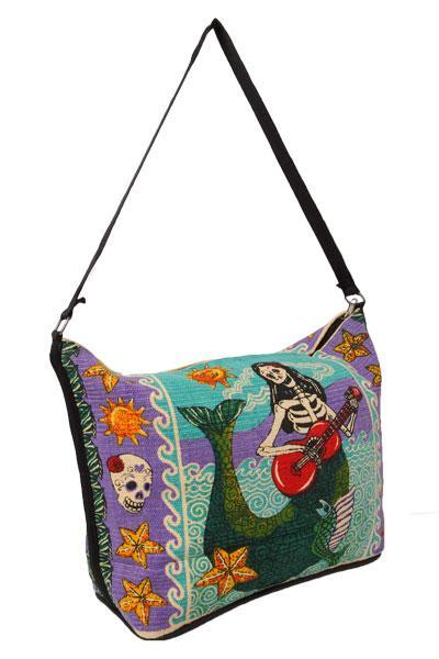 Canvas Shoulder Bag Day of the Dead - Mermaid