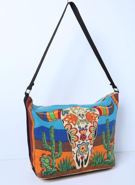 Canvas Shoulder Bag Day of the Dead - Longhorn Skull