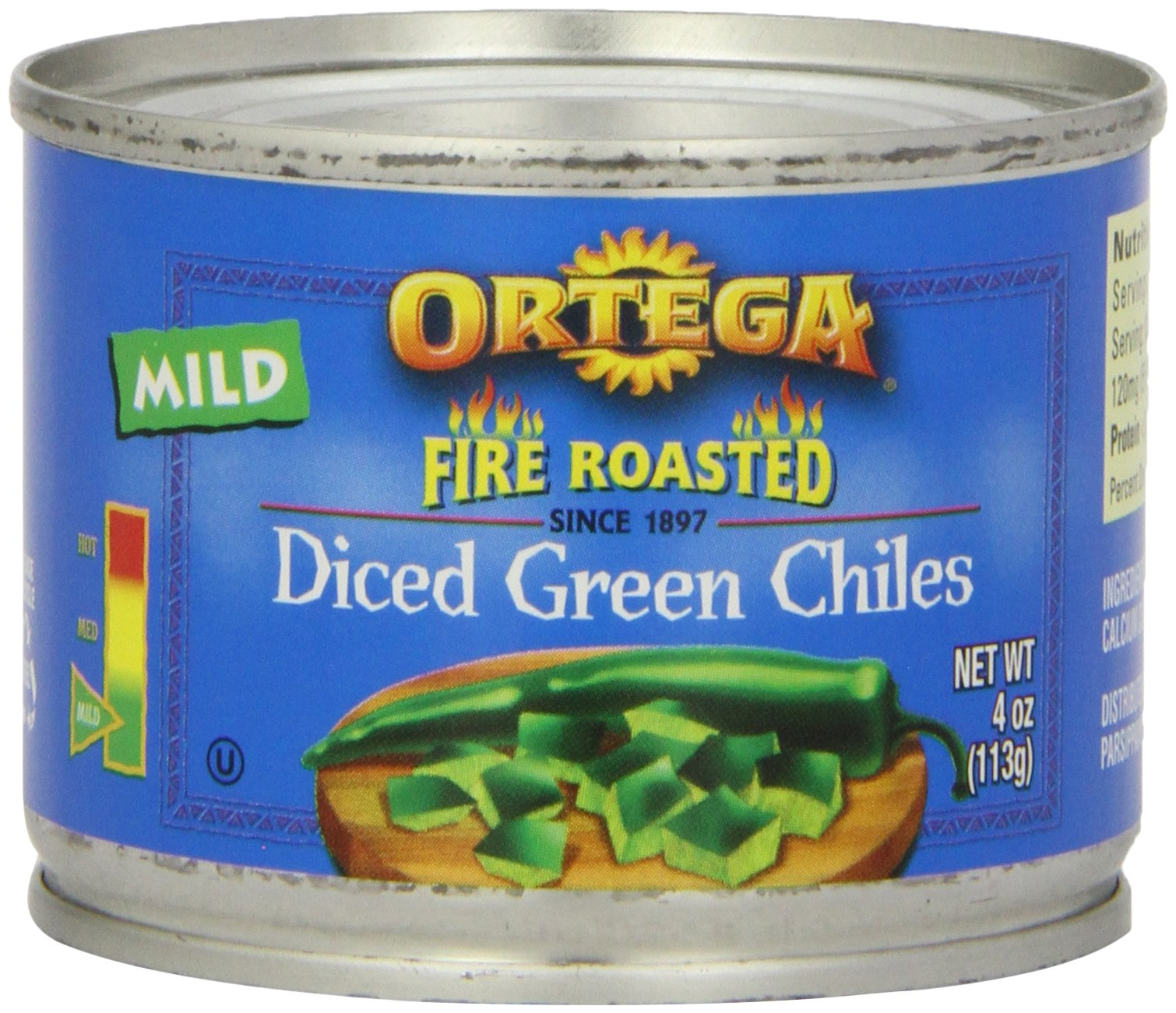 Ortega Fire Roasted Mild Diced Green Chiles 113gm (4oz)