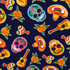 Mexican Oilcloth Table Cover - Sugar Skulls on Navy Blue