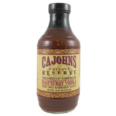 Cajohns Mesquite Smoked Raspberry Vodka New-Mex Barbeque Sauce (16oz) 474ml