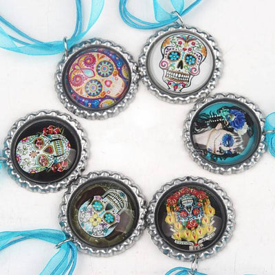 Day of the Dead necklace bottle-cap pendant on ribbon