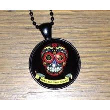 Day of the Dead necklace pendant on black ball chain