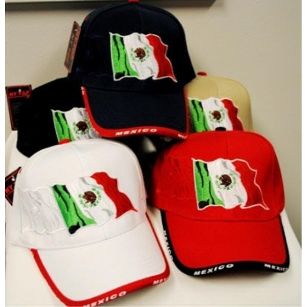 Baseball Cap - embroidered Mexican Flag