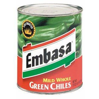 Chiles canned whole fire roasted mild green Embasa 765gm