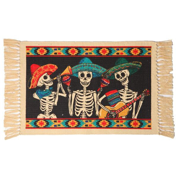 Day of the Dead cotton placemat - 3 Musicians