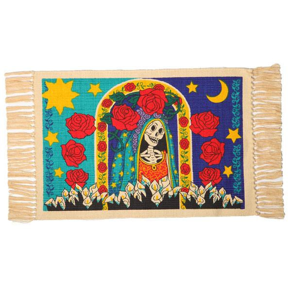 Day of the Dead cotton placemat - Guadalupe with Roses