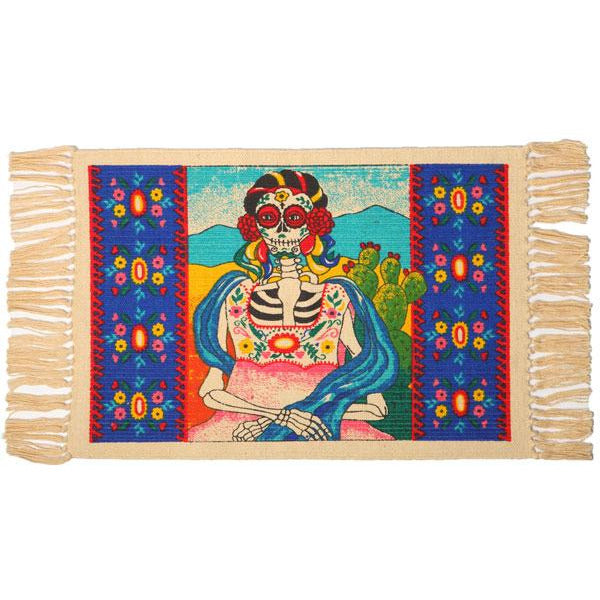 Day of the Dead cotton placemat - Senora with Cactus