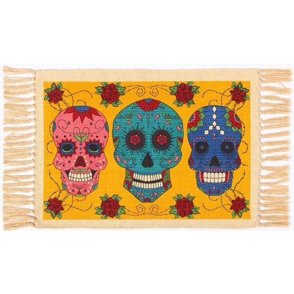 Day of the Dead cotton placemat - 3 Calavera Sugar Skulls on Yellow