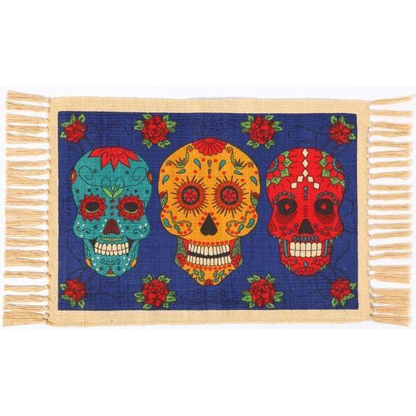 Day of the Dead cotton placemat - 3 Calavera Sugar Skulls on Blue