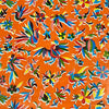 Mexican Oilcloth Table Cover - Otomi Design on Orange