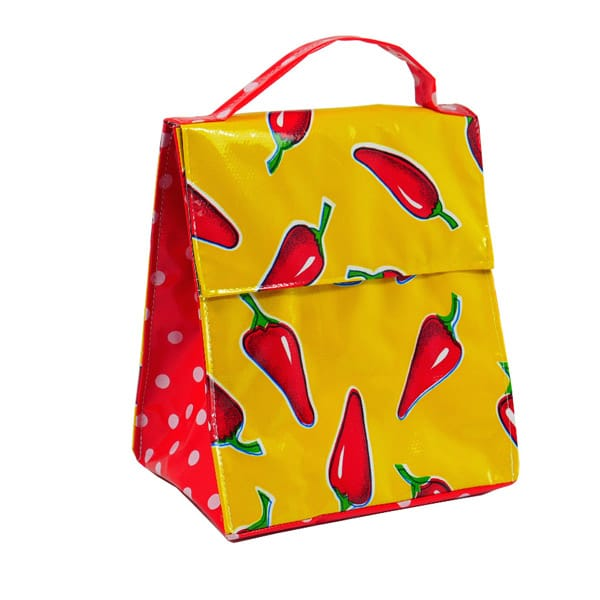 Mexican Oilcloth Insulated Lunch Bag - Chiles