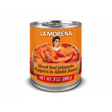 La Morena sliced Red Jalapenos in Adobo Sauce
