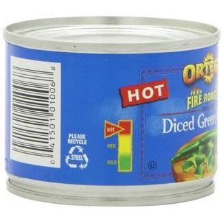 Ortega Hot Diced Green Chiles 4oz