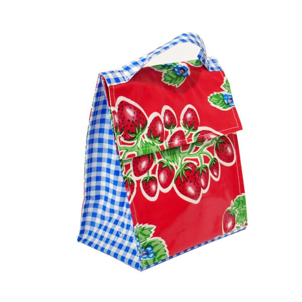 Mexican Oilcloth Insulated Lunch Bag -  Strawberries on Red