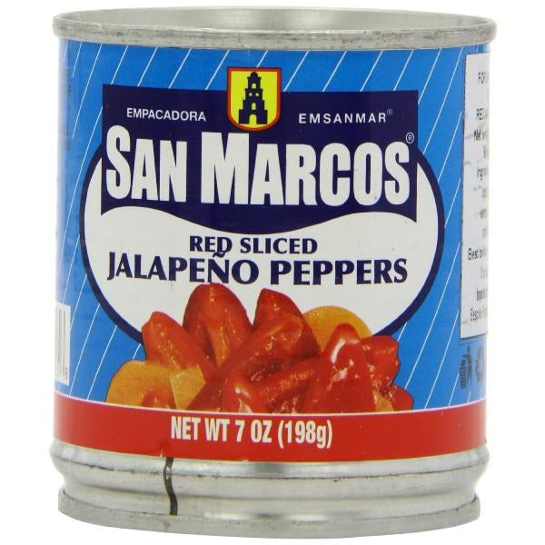 Chiles canned Jalapeno RED sliced San Marcos 198gm