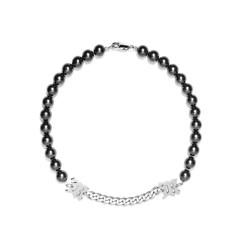 M Black Pearl + Curb Link Necklace