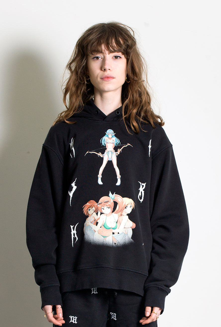 Double Anime Hoodie Washed Black