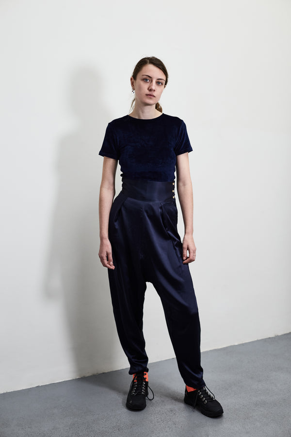 Black Dydine Silk Satine Pants