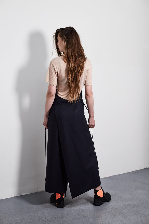 Black Silk Apron Dress