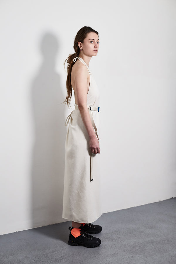 White Apron Raw Silk Dress