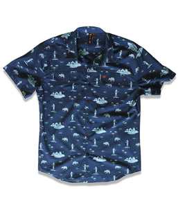 Jive Shirt in Navy Mule of the Nile Print