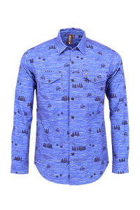 Vibe Flannel Shirt in Blue Mulitia Woods Print
