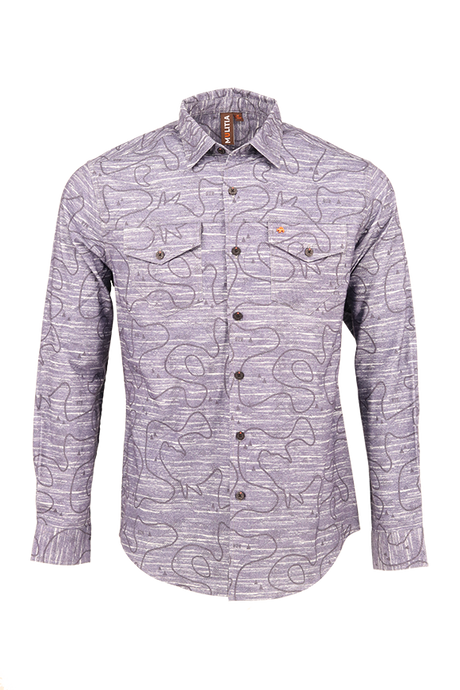 Vibe Flannel Shirt in Grey Open Trail Map Print