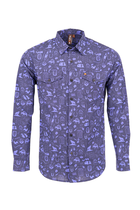 Vibe Slub Cotton Shirt in Navy Mountain Mania Print