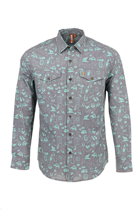 Vibe Slub Cotton Shirt in Graphite Mountain Mania Print