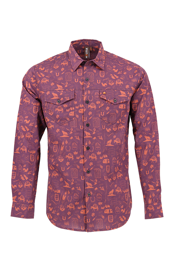 Vibe Slub Cotton Shirt in Wine Mountain Mania
