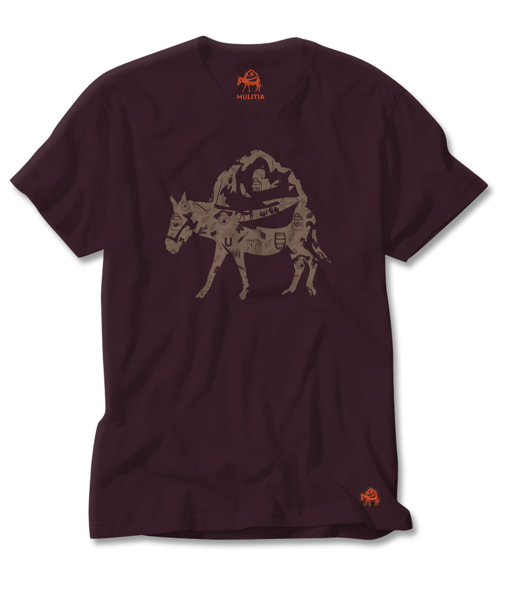 Mountain Mania Tee in Wine