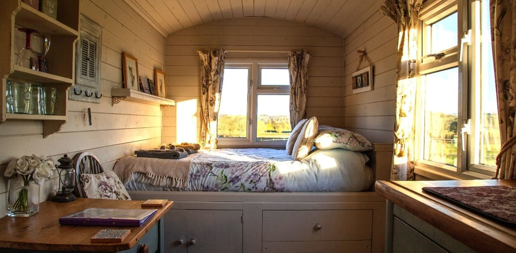 Storage & Space Saving Ideas in a beautiful Tiny Home bedroom, at Estilo Living.