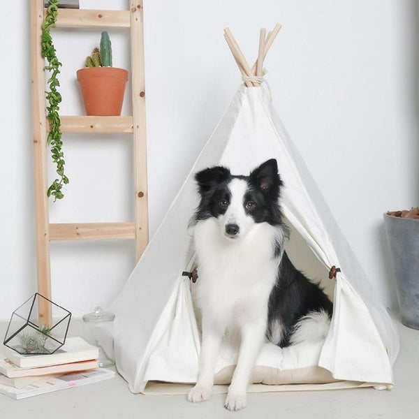 The Modern Boho Dog Teepee with Plush Dog Bed Cushion from Estilo Living - Buy Dog Teepees Online & Other Pet Accessories