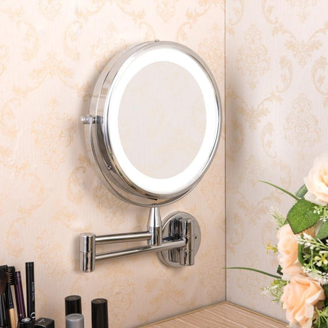 Adjustable LED Makeup and Bathroom Mirror for Tiny Home bathroom space saving solutions, at Estilo Living.