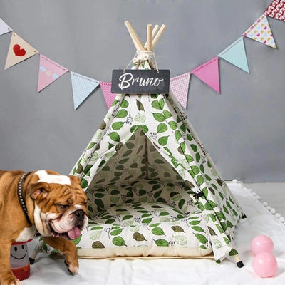 Forest Leaves Dog Teepee with Soft Dog Bed | Pet Teepees | Dog Tents | Cat Teepees | Estilo Living