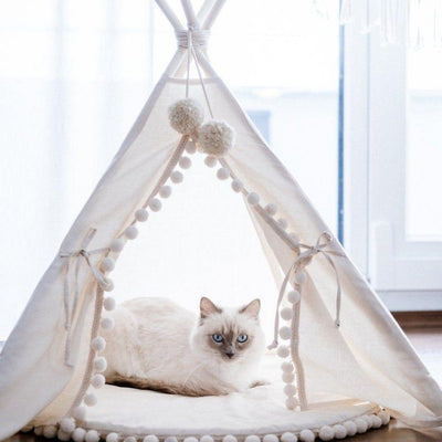 Ivory Boho Pompom Cat Teepee | Cat Tents | Boho Cat Teepees | Boho Cat Beds | Stylish Cat Teepees | Estilo Living