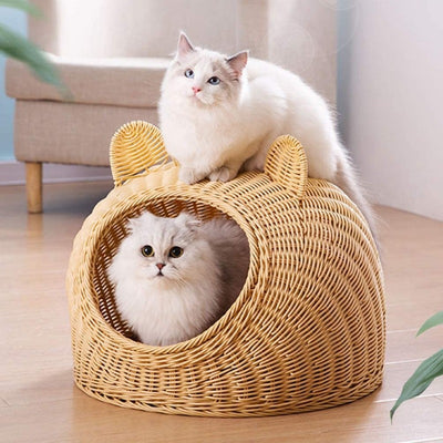 Kitty Condo Woven Calming Cat Cave | Cat Nest | Woven Cat Beds | Woven Cat Nests | Cat Caves | Cute Cat Ears Bed | Estilo Living