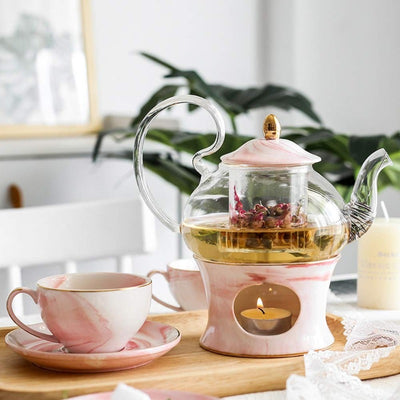 Pure Elegance Porcelain & Glass Teapot Set | Ceramic Teapot Sets | Marble Ceramic Glass Teapots | Drinkware | Estilo Living