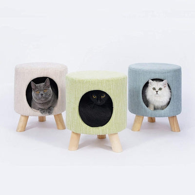 Modern Stool with Cat Cave | Cat Beds | Cat Houses | Space Saving Furniture | Foot Stools with Cat Cave | Estilo Living