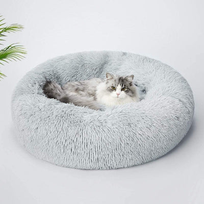 Round Plush Calming Donut Cat Bed Nest | Cat Beds | Pet Beds | Donut Beds | Plush Cat Beds | Cat Nests | Estilo Living