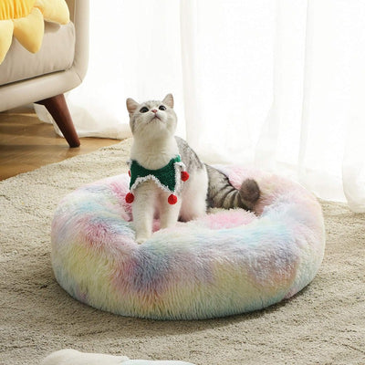 Round Rainbow Collection Extra Plush Calming Donut Cat Bed | Cat Beds | Pet Beds | Donut Beds | Plush Cat Beds | Cat Nests | Estilo Living